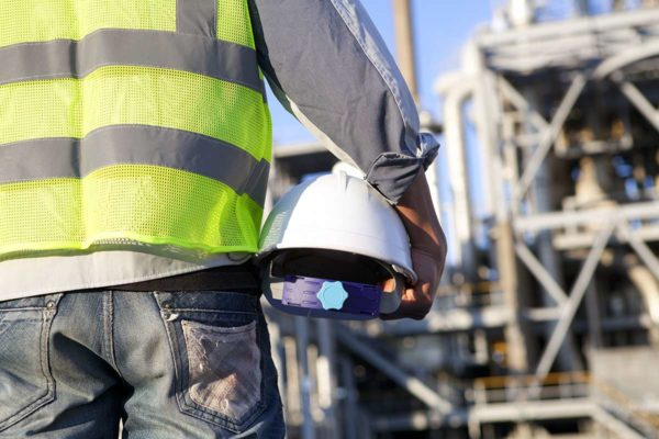 An industrial worker complying with industry best practices
